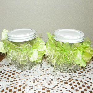 4 Wedding Party Table Decor Favor Green Glass Jar